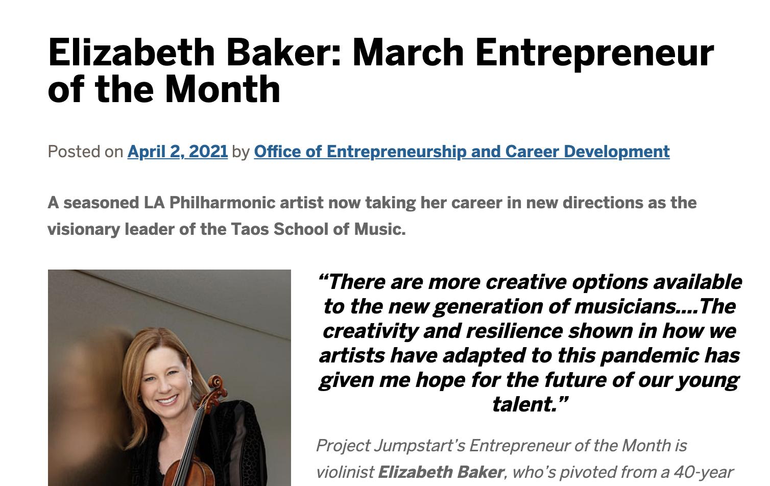 Elizabeth Baker Recognized for Entrepreneurial Spirit with 2020 Concert Livestreams
